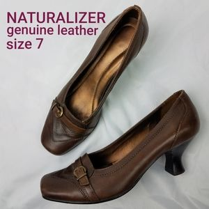 Naturalizer Kitten Heel Brown Leather Loafers